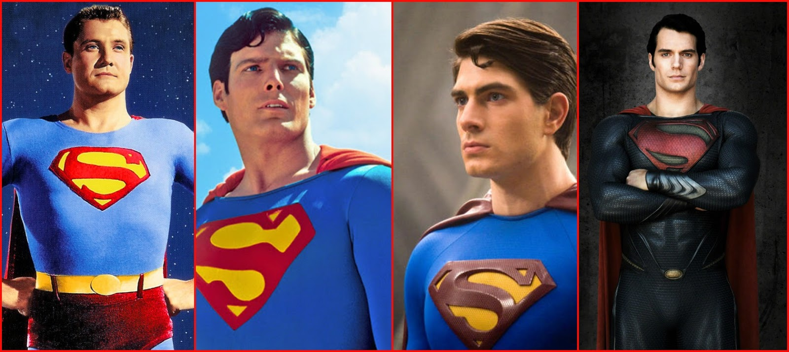 George Reeves Christopher Reeve Brandon Routh And Henry Cavill As Superman