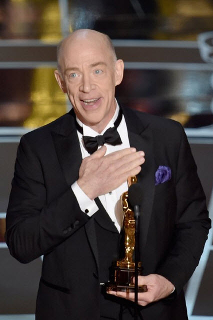 J.K. Simmons accepting his Best Supporting Actor Award