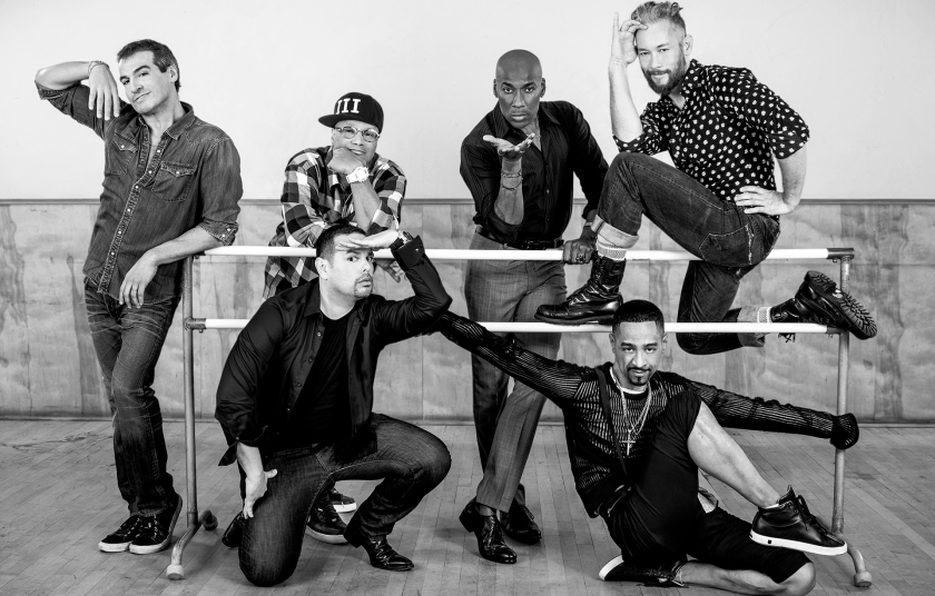 Top row: Salim Gauwloos, Oliver Crumes III, Carlton Wilborn, Kevin Stea. Bottom row: Luis Camacho, Jose Gutierez. From the film STRIKE A POSE. (Photograph by Linda Posnick)